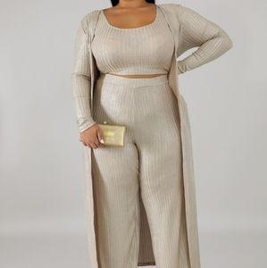 3 Piece Set Crop Top Pants Shaul Cardigan Shimmer